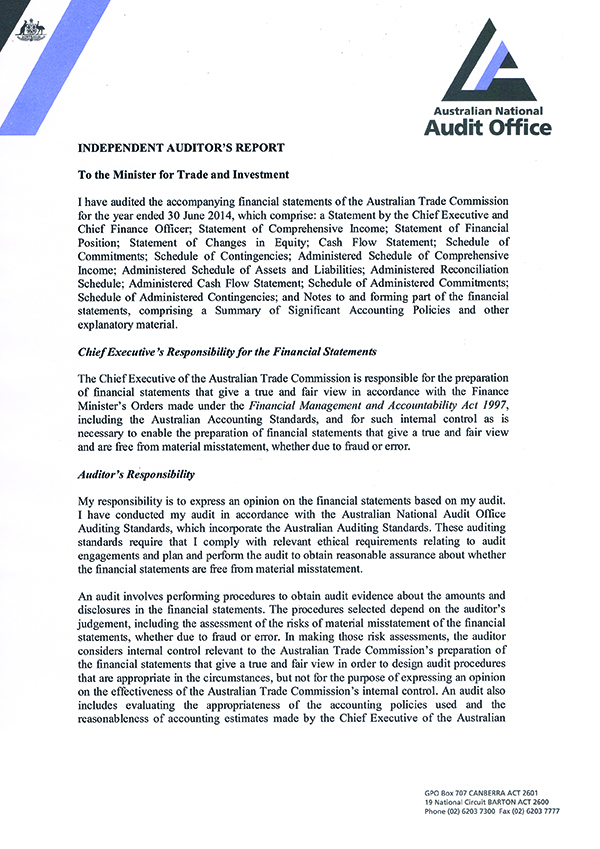 Austrade annual report 2013 14 independent auditors report independent auditors report thecheapjerseys Choice Image