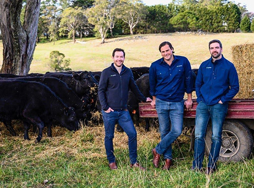AgriWebb's co-founders (from left to right): John Fargher, Justin Webb and Kevin Baum