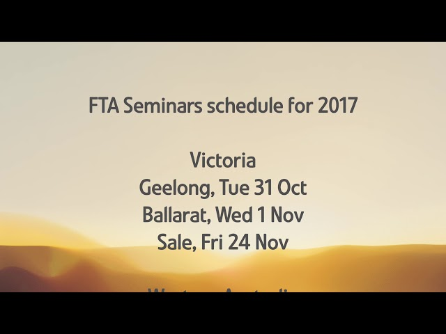 Free Trade Agreements Seminars – October – November 2017