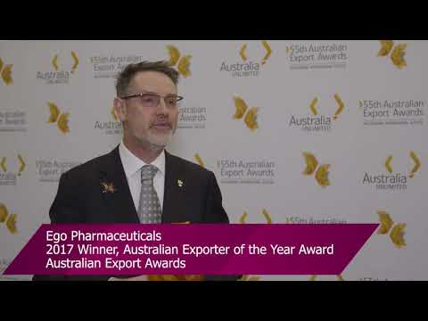 Ego Pharmaceuticals – 2017 Australian Exporter of the Year & Manufacturing Award winner