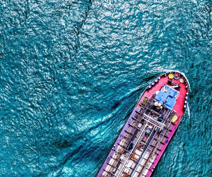 Aerial top view of a cargo container ship